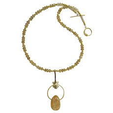 Citrine Necklace with Citrine Teardrop Pendant and Gold Accents