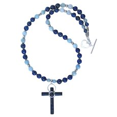 Lapis Lazuli and Sterling Silver Cross Pendant on Necklace of Aquamarine and Lapis Lazuli