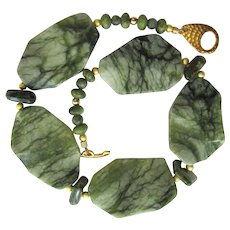 Jungle Jasper Choker with Green Garnet Accents – Matching Earrings