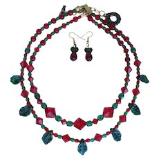 Two Strand Red and Green Necklace with Holly and Swarovski Crystals – Matching Earrings