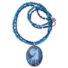 Raku Wolf Pendant on Two-Strand Necklace of Turquoise and Denim Lapis Lazuli