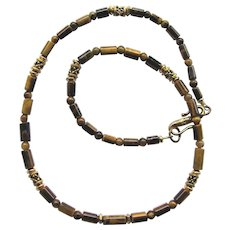 Men's Tiger Eye Necklace in Dark Shades with Golden-Tone Accents