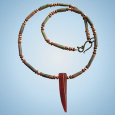 Striated Red Agate Talon on Unakite Necklace with Magnesite Accents