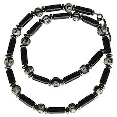 Men's Necklace of Obsidian and Bone with Hematite Accents
