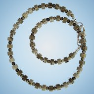 Men's Choker of Silver Leaf Jasper Heishis with Silver-Plate Accents