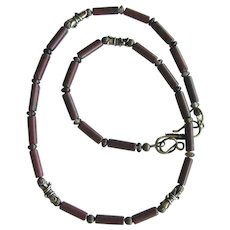 Men's Necklace of Brecciated Jasper with Agate Rondelles and Brass Accents