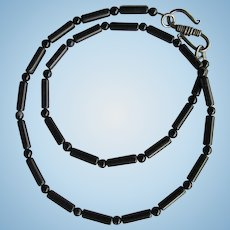 Men's Black Choker of Agate Tube Beads and Agate Rounds