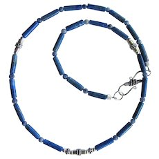 Mens Lapis Lazuli Choker with Sterling Silver and Sodalite Accents