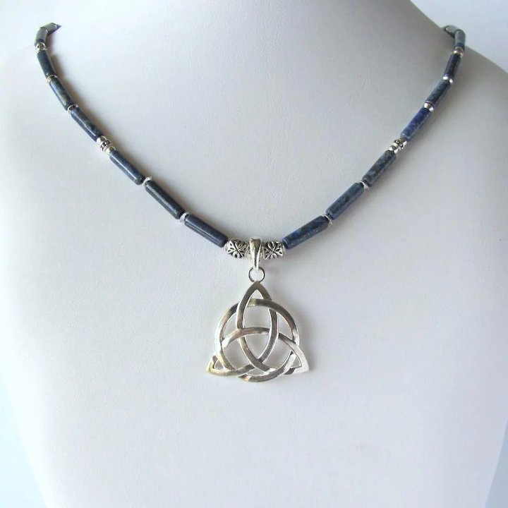 Trinity Knot Necklace With Denim Lapis Lazuli Tube Beads And