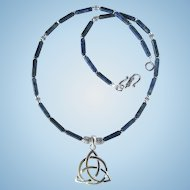 Trinity Knot Necklace with Denim Lapis Lazuli Tube Beads and Triquetra Pendant