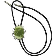 Bolo Tie with Serpentine Cabochon in Silver-Plate Wave Setting