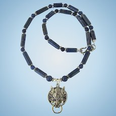 Wolf Pendant on Necklace of Lapis Lazuli and Aventurine with Silver-Tone Accents
