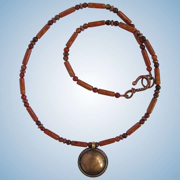 731a460b53268 Men's Necklace with Tibetan Coin Pendant and Riverstone – Agate – Copper  Accents