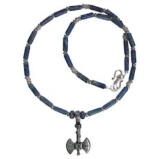 Double-Bladed Ax Pendant on Necklace of Denim Lapis Lazuli with Banded Accent Beads