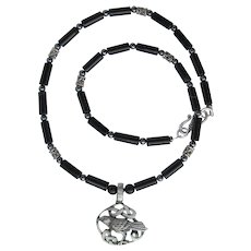 Raven Pendant with Celtic Design on Black Agate Necklace with Hematite Accents