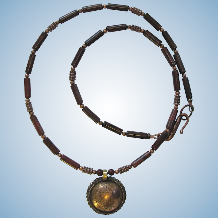 cb374ebfd5861 Men's Necklace with Tibetan Coin Pendant and Brecciated Jasper with Copper  Accents