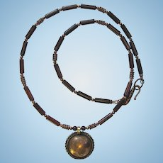 Men's Necklace with Tibetan Coin Pendant and Brecciated Jasper with Copper Accents
