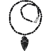 Hand-Knapped Obsidian Arrowhead on Onyx and Obsidian Necklace
