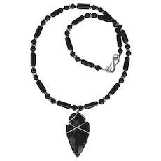 Hand-Knapped Obsidian Arrowhead on Onyx and Obsidian Necklace