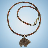 Jasper Zuni Bear on Necklace of Riverstone and Cherry Creek Jasper