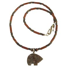 Jasper Zuni Bear on Necklace of Riverstone and Cherry Creek Jasper