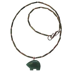 Green Aventurine Zuni Bear on Unakite Necklace with Copper Accents - Red Tag Sale Item