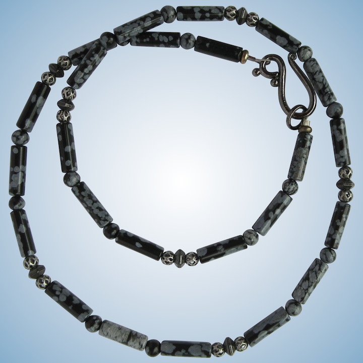 ff11cdff03cc8 Mens Choker of Snowflake Obsidian with Gunmetal Bead Accents