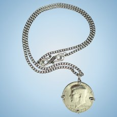 Kennedy Coin Pendant Necklace with Bicentennial Kennedy Coin