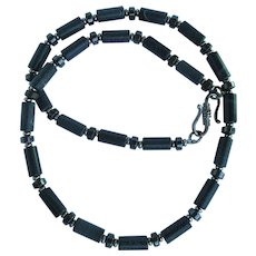 Men's Necklace of Riverstone and Hematite in Grey and Black