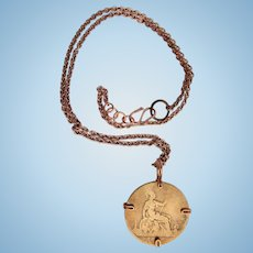 1885 Victorian Coin – Wire Wrapped Pendant on Copper Chain