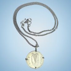 1998 Irish Harp Coin Pendant – Wire Wrapped Coin on Chain