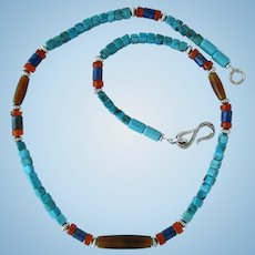 Turquoise Choker with Carnelian and Lapis Lazuli Accents and Horn Hairpipe Beads