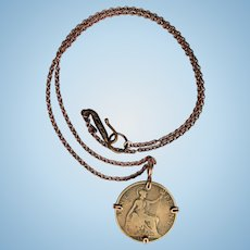 1897 Coin Pendant – Wire Wrapped Victorian Coin on Copper Chain