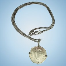 Irish Harp Coin Pendant – Wire Wrapped Eire 50P Coin on Chain