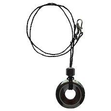 Necklace with Large Beveled Hematite Pendant