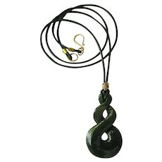 Triple Twist Canadian Jade Pendant on Green Cord