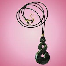 Triple Twist Canadian Jade Pendant on Green Cord