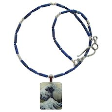 Pendant of The Great Wave on Necklace of Lapis Lazuli