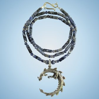 Dragon Pendant on Necklace of Steel Blue Sodalite Tube Beads