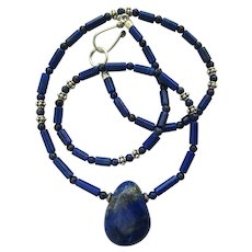 Lapis Lazuli Pendant on Necklace of Lapis Lazuli and Sterling Silver