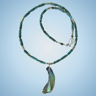 Turquoise Necklace with Paua Shell Pendant and Hill Tribe Silver