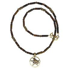 Bronze Raven Pendant on Tigers Eye Necklace