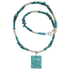 Aztec Jaguar Motif Pendant Necklace with Turquoise and Magnesite