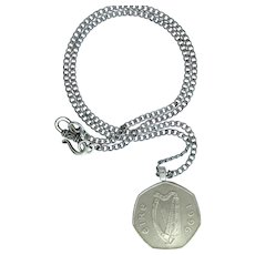 Irish Harp Coin Pendant – 1996 Eire 50P Coin on Chain
