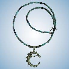 Brass Dragon Pendant on Jasper Necklace