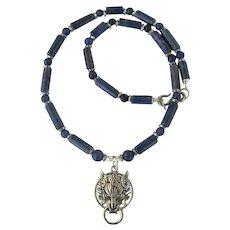 Wolf Pendant on Necklace of Lapis Lazuli and Aventurine