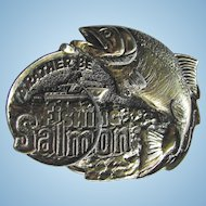 Vintage 1982 Salmon Fishing Belt Buckle by the Great American Buckle Company
