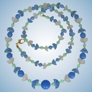 Long Vintage Flower Necklace - Light Blue Beads - Frosted Blue and Green Flowers