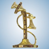 Vintage Telephone Brooch with Rhinestones – Old-Fashioned Candlestick Phone Design