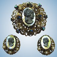 Vintage Black Cameo Brooch and Earrings with Rhinestones – Signed West Germany